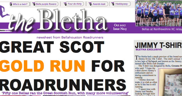 The Bletha 5 – Bellahouston Road Runners News sheet – is out!